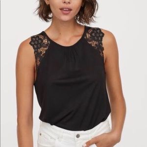 H&M tank with lace sleeve cuff